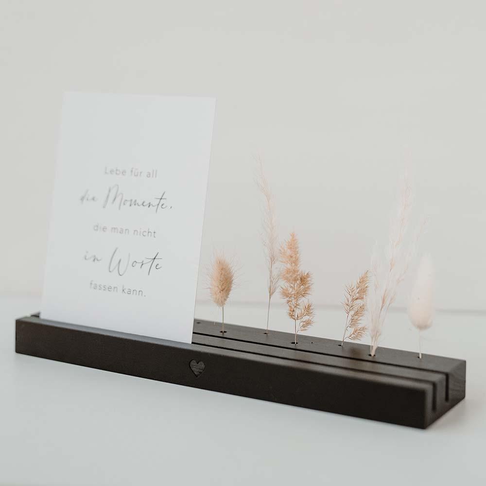 Karten- und Trockenblumenständer 25 cm Herz schwarz