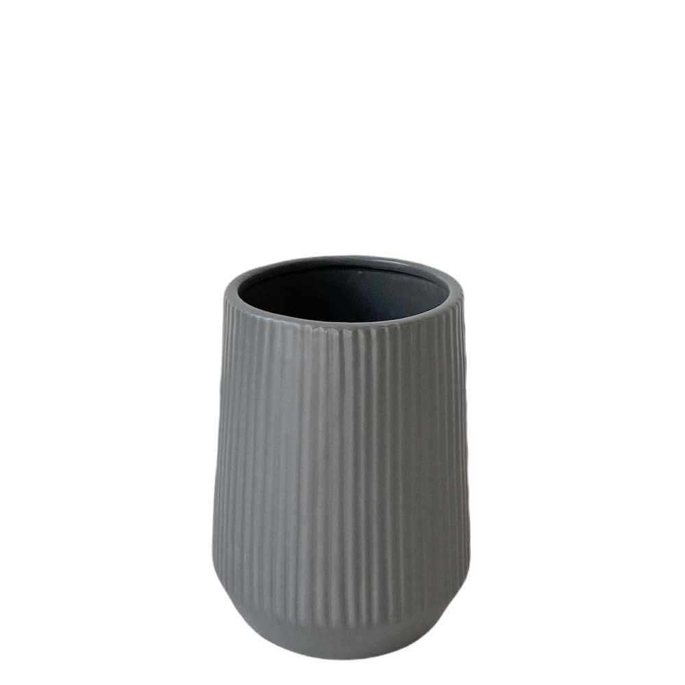 Keramik Vase Rillen H18 cm grau