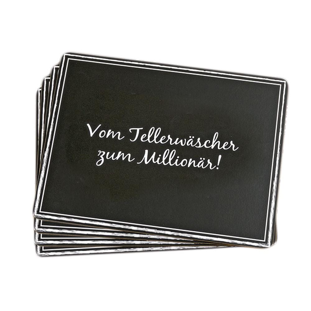 Tischset 4er Set Vom Tellerwäscher zum Millionär!