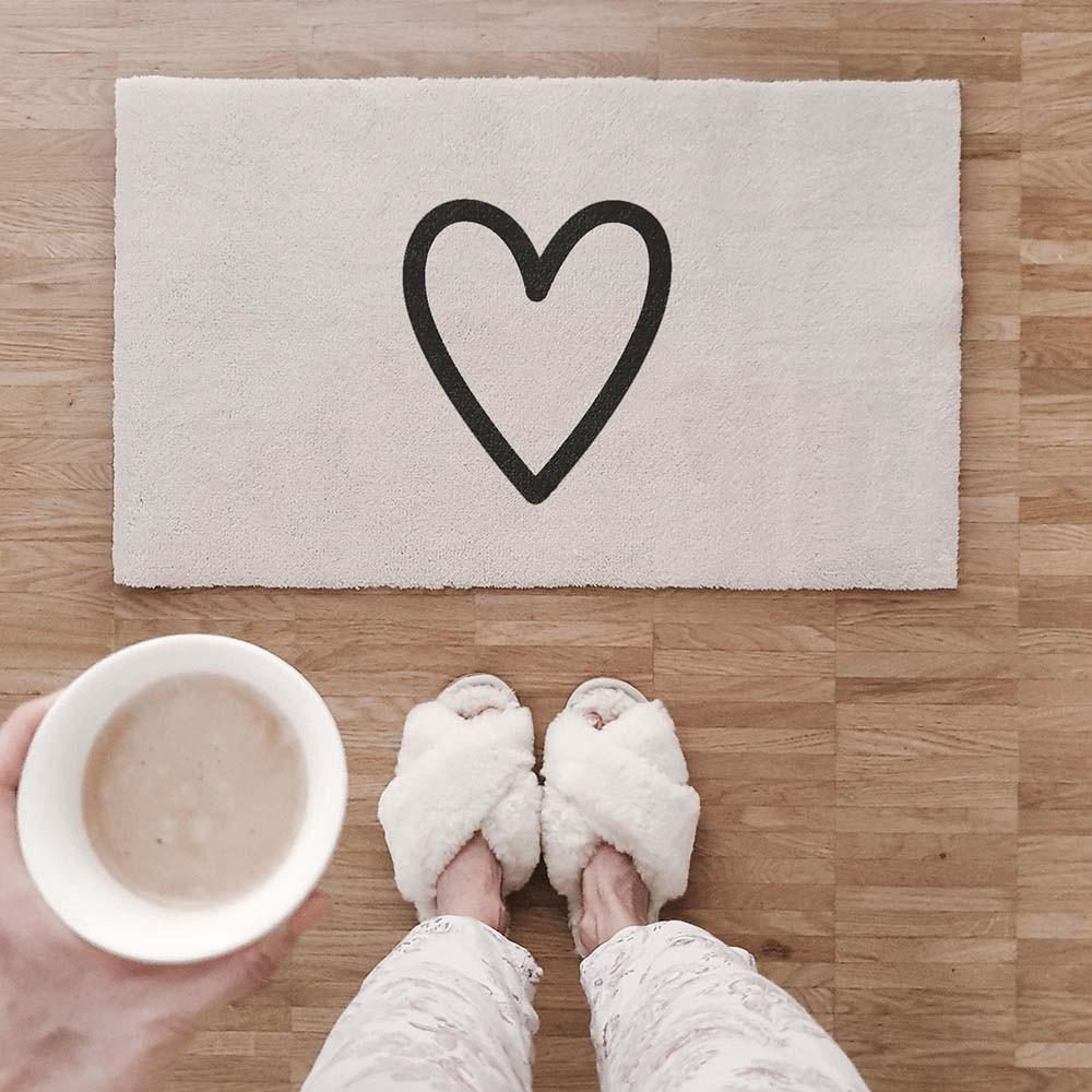 Waschbare Fußmatte Herz creme