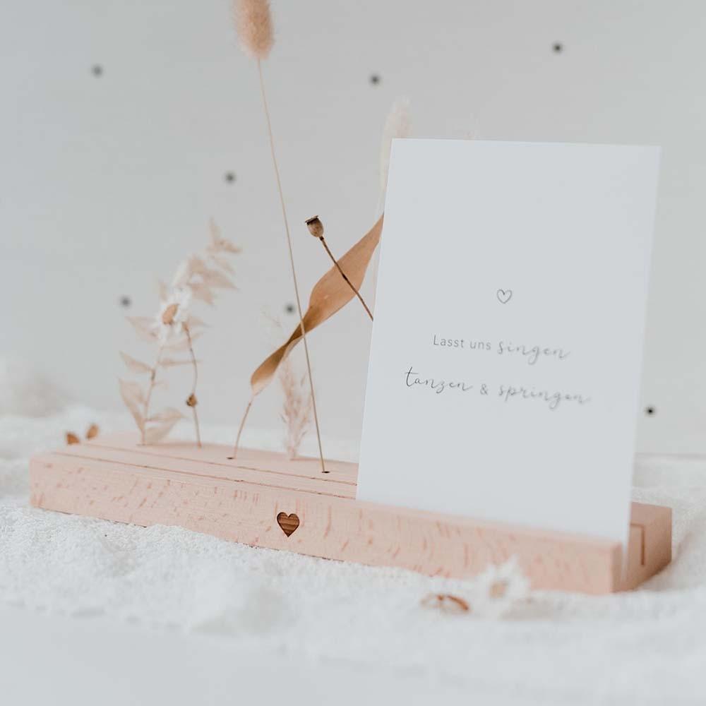 Karten- und Trockenblumenständer 25 cm Herz natur