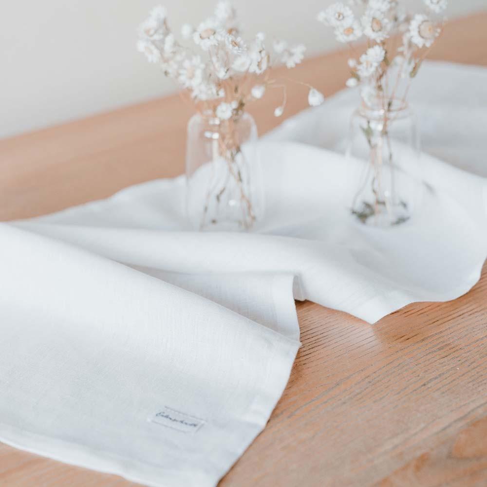 Leinen Tischläufer weiß