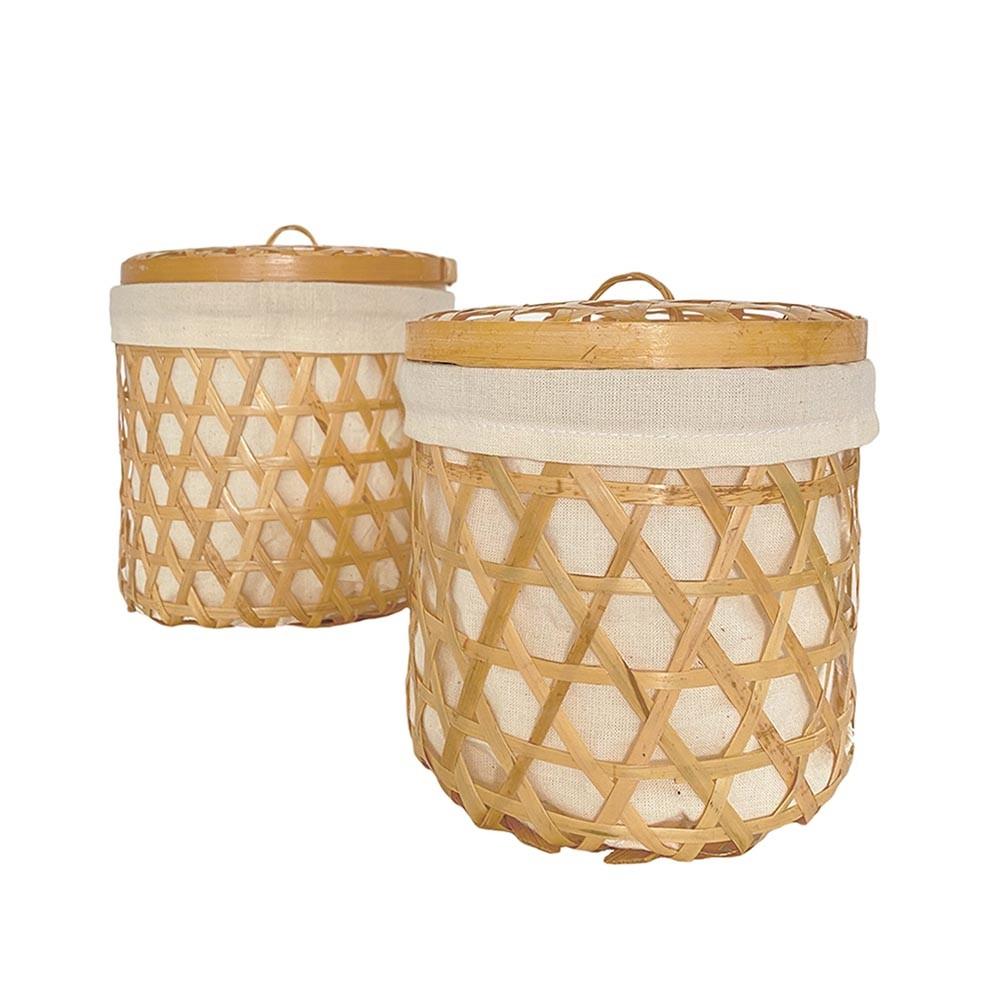 Bambus Korb 2er Set mit Deckel