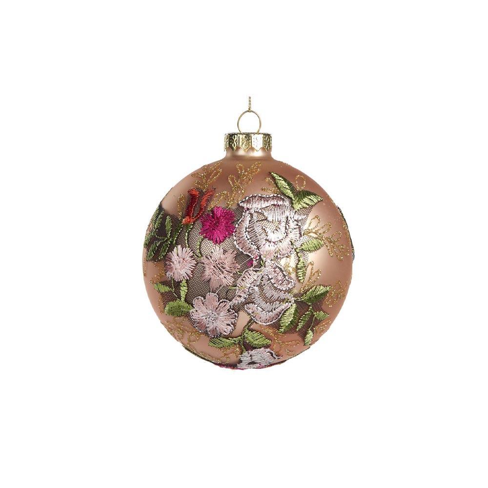 Goodwill Christbaumkugel mit Blumenstickerei 10 cm